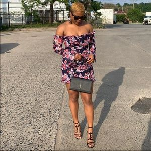 Lulus floral off the shoulder dress